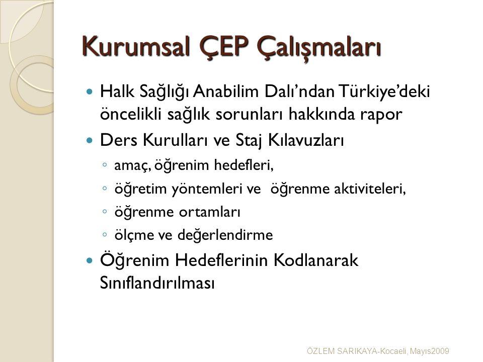 Kurumsal ÇEP Çalışmaları Halk Sa ğ lı ğ ı Anabilim Dalı'ndan Türkiye'deki öncelikli sa ğ lık sorunları hakkında rapor Ders Kurulları ve Staj Kılavuzları ◦ amaç, ö ğ renim hedefleri, ◦ ö ğ retim yöntemleri ve ö ğ renme aktiviteleri, ◦ ö ğ renme ortamları ◦ ölçme ve de ğ erlendirme Ö ğ renim Hedeflerinin Kodlanarak Sınıflandırılması ÖZLEM SARIKAYA-Kocaeli, Mayıs2009