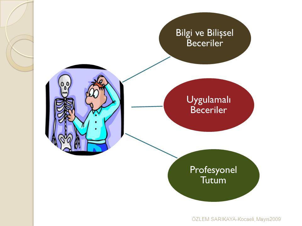 Bilgi ve Bilişsel Beceriler Uygulamalı Beceriler Profesyonel Tutum