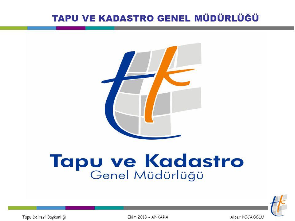 Tapu Dairesi Başkanlığı Ekim 2013 – ANKARA Alper KOCAOĞLU TAPU VE KADASTRO GENEL MÜDÜRLÜĞÜ