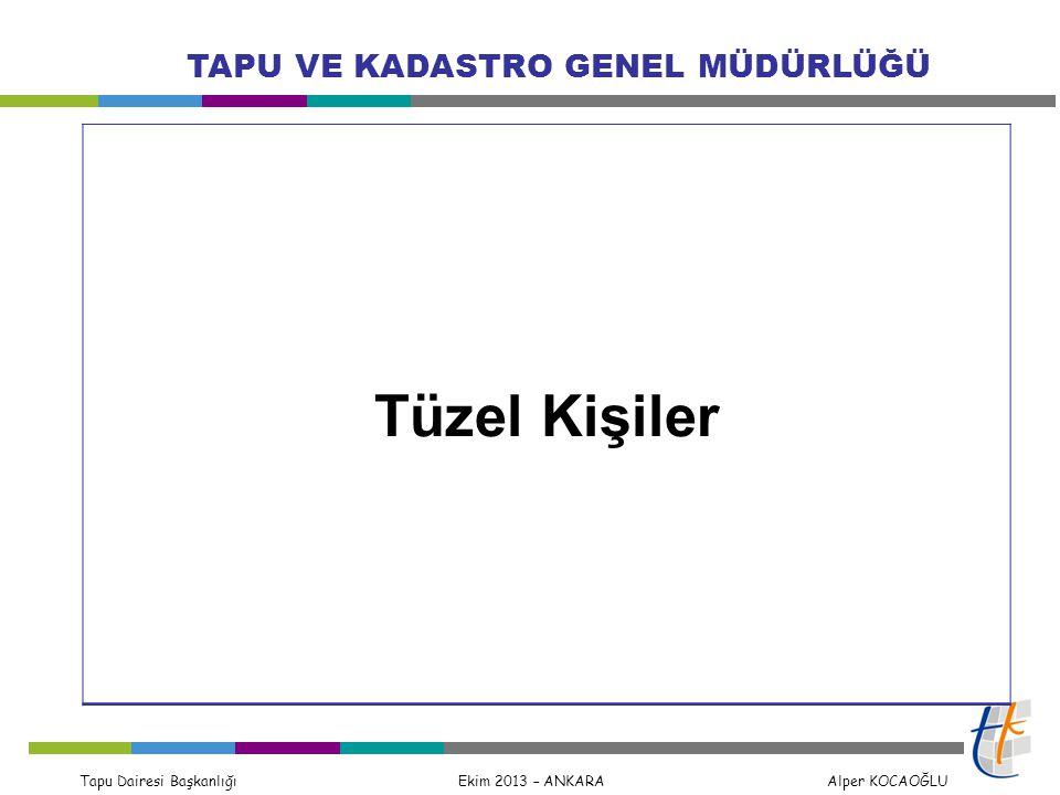 Tapu Dairesi Başkanlığı Ekim 2013 – ANKARA Alper KOCAOĞLU TAPU VE KADASTRO GENEL MÜDÜRLÜĞÜ Tüzel Kişiler