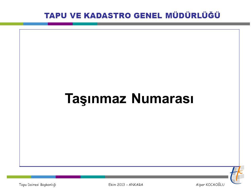 Tapu Dairesi Başkanlığı Ekim 2013 – ANKARA Alper KOCAOĞLU TAPU VE KADASTRO GENEL MÜDÜRLÜĞÜ Taşınmaz Numarası