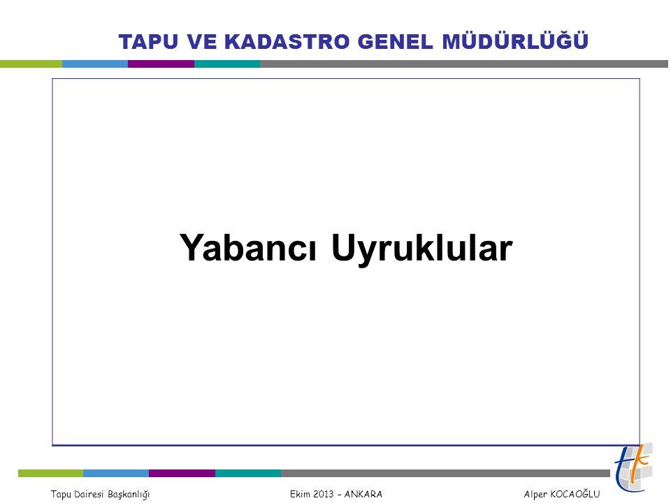 Tapu Dairesi Başkanlığı Ekim 2013 – ANKARA Alper KOCAOĞLU TAPU VE KADASTRO GENEL MÜDÜRLÜĞÜ Yabancı Uyruklular