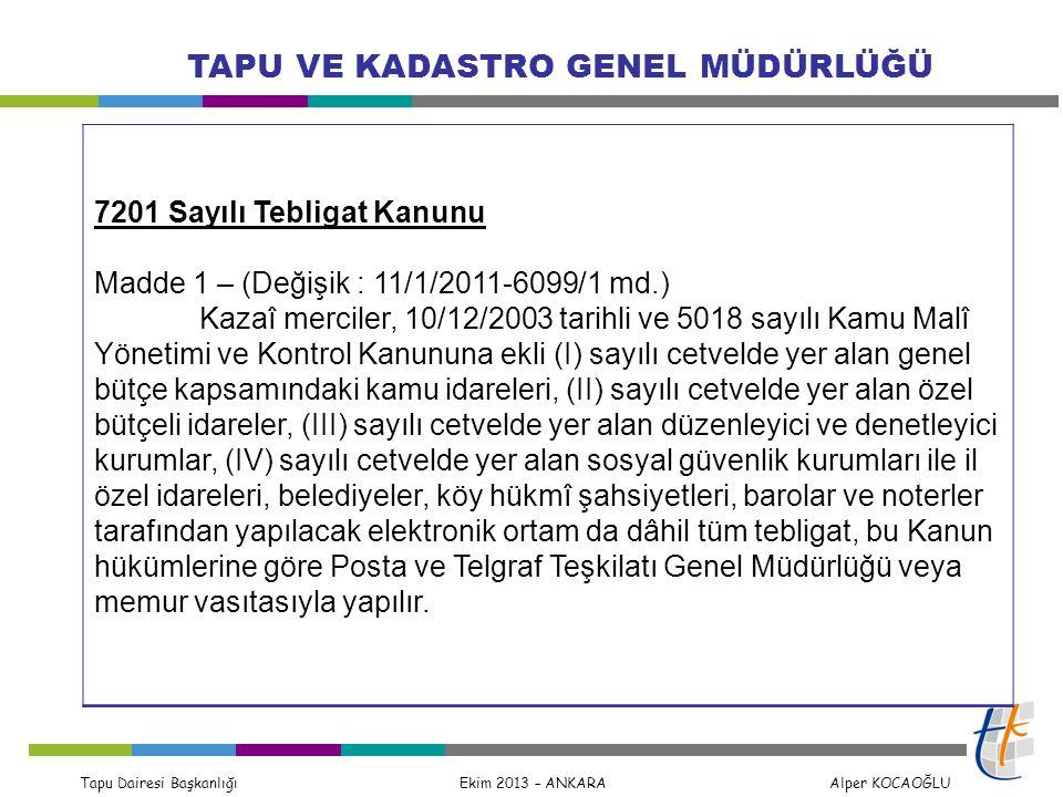 Tapu Dairesi Başkanlığı Ekim 2013 – ANKARA Alper KOCAOĞLU TAPU VE KADASTRO GENEL MÜDÜRLÜĞÜ 7201 Sayılı Tebligat Kanunu Madde 1 – (Değişik : 11/1/2011-