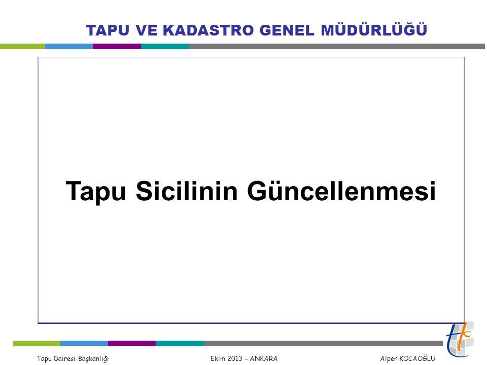 Tapu Dairesi Başkanlığı Ekim 2013 – ANKARA Alper KOCAOĞLU TAPU VE KADASTRO GENEL MÜDÜRLÜĞÜ Tapu Sicilinin Güncellenmesi