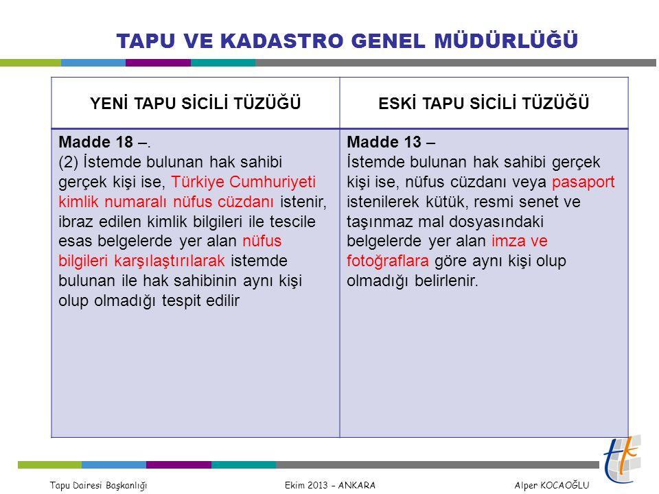Tapu Dairesi Başkanlığı Ekim 2013 – ANKARA Alper KOCAOĞLU TAPU VE KADASTRO GENEL MÜDÜRLÜĞÜ TKGM nün 2013/13 sayılı Genelgesi gereğince Yabancı uyruklu gerçek kişiler: Pasaport veya kimlik belgesi Vatansızlar : İkamet Tezkeresi Yabancı tüzel kişiler : Apostille şerhi veya konsolosluk tasdiki Türk Vatandaşlığından Çıkanlar 12/04/2013 tarihinden sonra verilmiş ise yalnız Mavi Kart Pasaport veya Kimlik Belgesi yanında Mavi veya Pembe Kart MERNİS den Mavi veya Pembe kartın teyidi halinde yalnız Pasaport veya Kimlik Belgesi