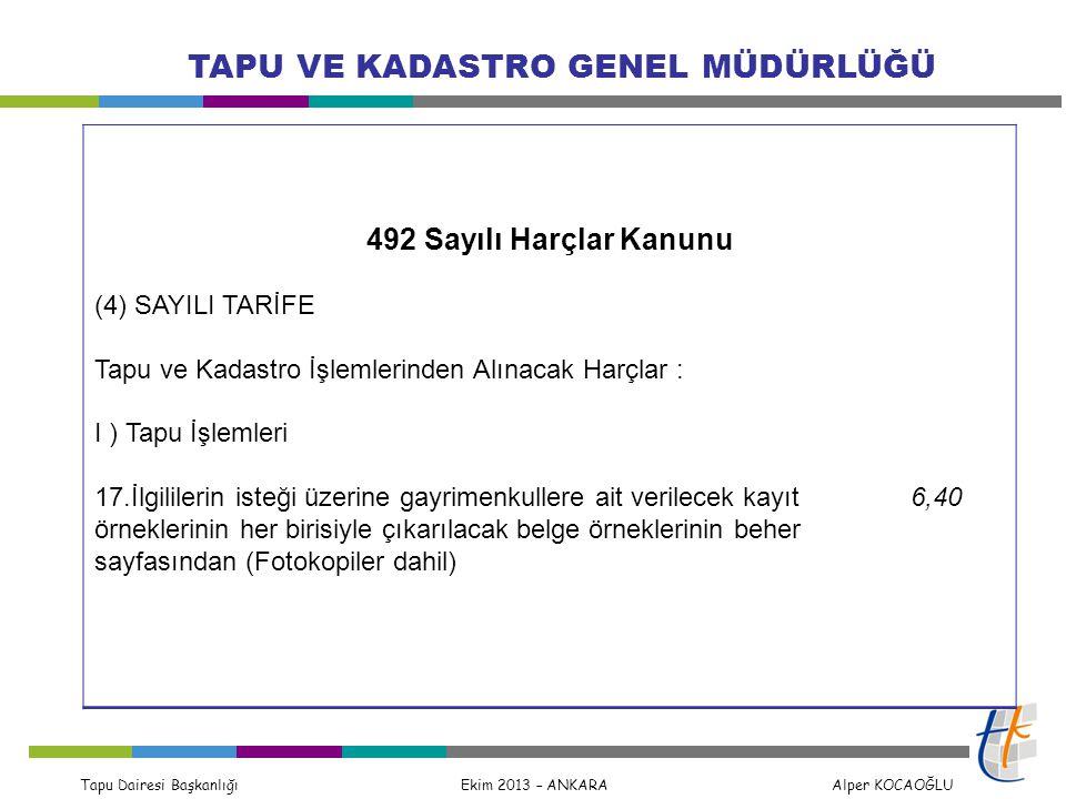 Tapu Dairesi Başkanlığı Ekim 2013 – ANKARA Alper KOCAOĞLU TAPU VE KADASTRO GENEL MÜDÜRLÜĞÜ 492 Sayılı Harçlar Kanunu (4) SAYILI TARİFE Tapu ve Kadastr