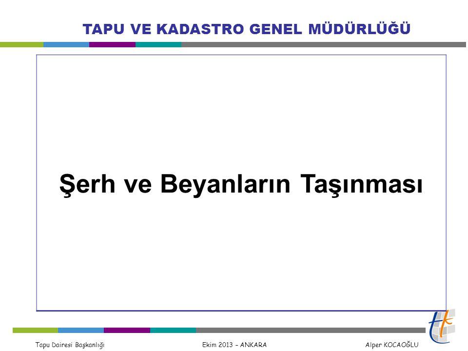 Tapu Dairesi Başkanlığı Ekim 2013 – ANKARA Alper KOCAOĞLU TAPU VE KADASTRO GENEL MÜDÜRLÜĞÜ Şerh ve Beyanların Taşınması