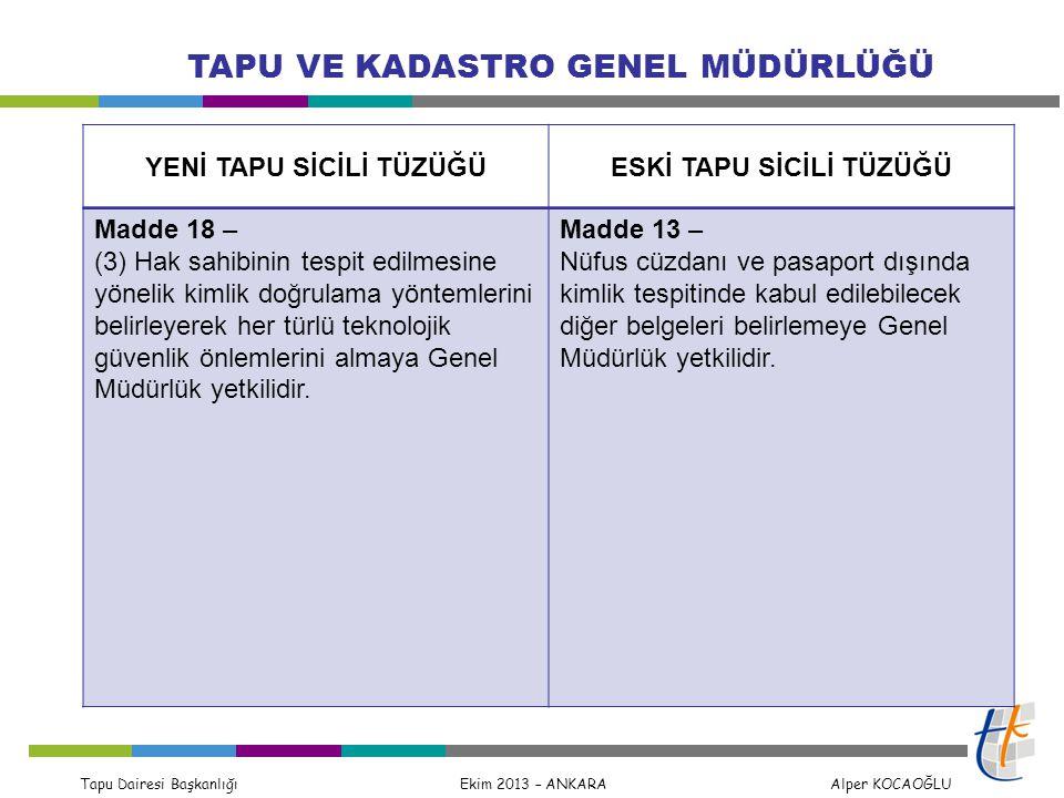 Tapu Dairesi Başkanlığı Ekim 2013 – ANKARA Alper KOCAOĞLU TAPU VE KADASTRO GENEL MÜDÜRLÜĞÜ Hisse Tevhidi
