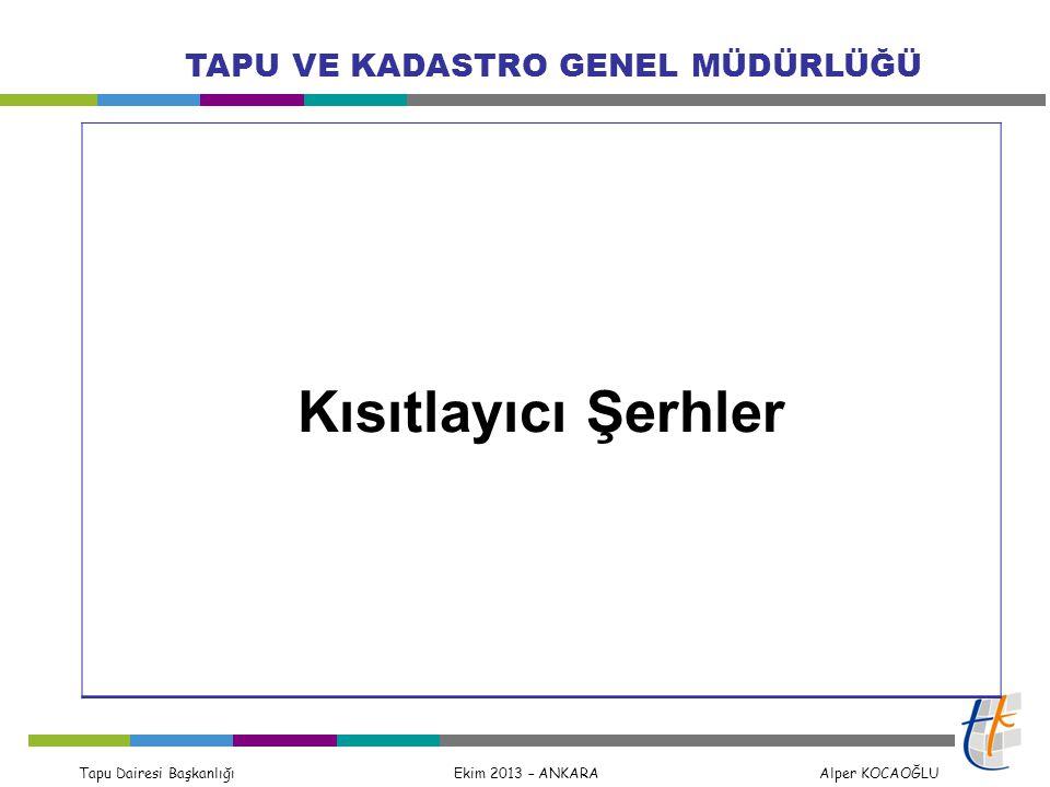 Tapu Dairesi Başkanlığı Ekim 2013 – ANKARA Alper KOCAOĞLU TAPU VE KADASTRO GENEL MÜDÜRLÜĞÜ Kısıtlayıcı Şerhler