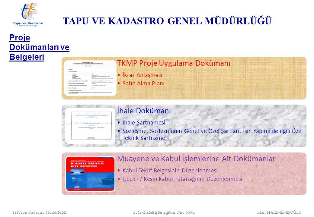 İhale süreci Sözleşme Yer teslimi ve İşe Başlama İşin Yapımı İşin Muayene ve Kabulü İhale İşlemleri İş Adımları 10 gün içinde 420/480/510 gün 30 gün içinde TAPU VE KADASTRO GENEL MÜDÜRLÜĞÜ Trabzon Kadastro Müdürlüğü 2013-İhaleli işler Eğitim Ders Notu İrfan HACIMEMİŞOĞLU