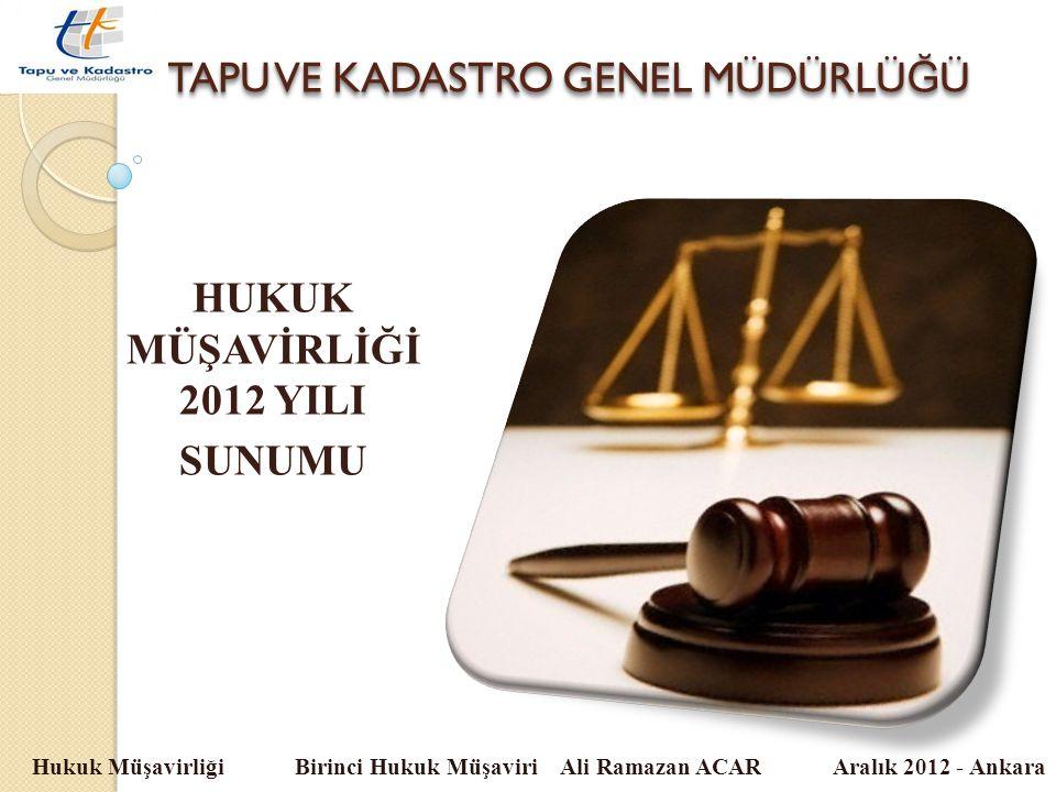 TAPU VE KADASTRO GENEL MÜDÜRLÜ Ğ Ü Hukuk Müşavirliği Birinci Hukuk Müşaviri Ali Ramazan ACAR Aralık 2012 - Ankara HUKUK MÜŞAVİRLİĞİ 2012 YILI SUNUMU