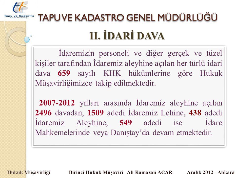 TAPU VE KADASTRO GENEL MÜDÜRLÜ Ğ Ü Hukuk Müşavirliği Birinci Hukuk Müşaviri Ali Ramazan ACAR Aralık 2012 - Ankara II. İDARİ DAVA İdaremizin personeli