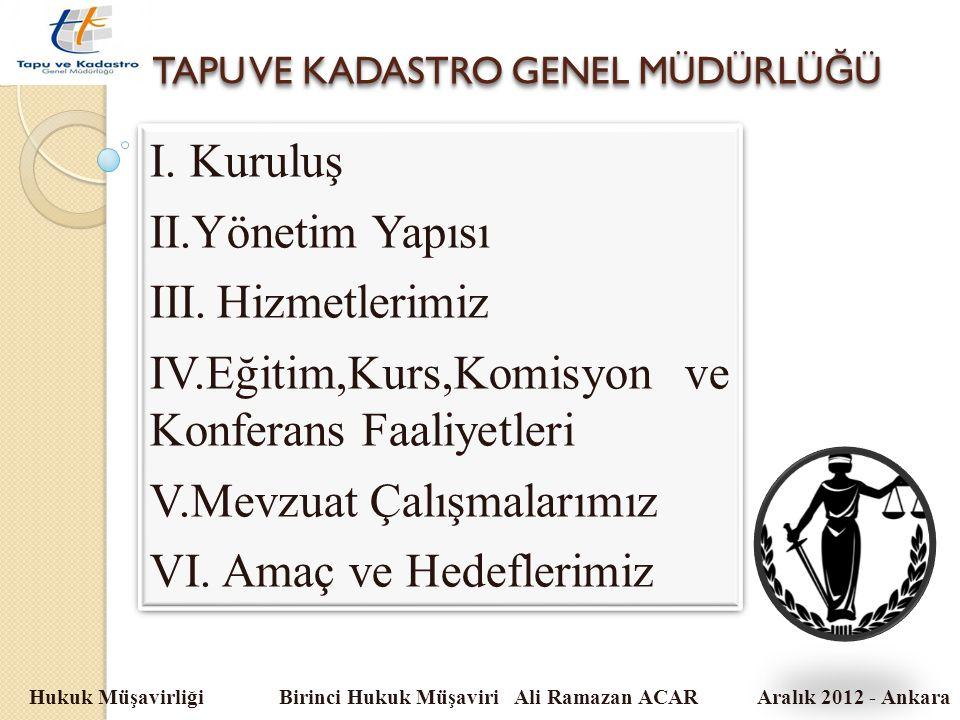 TAPU VE KADASTRO GENEL MÜDÜRLÜ Ğ Ü Hukuk Müşavirliği Birinci Hukuk Müşaviri Ali Ramazan ACAR Aralık 2012 - Ankara I. Kuruluş II.Yönetim Yapısı III.Hiz