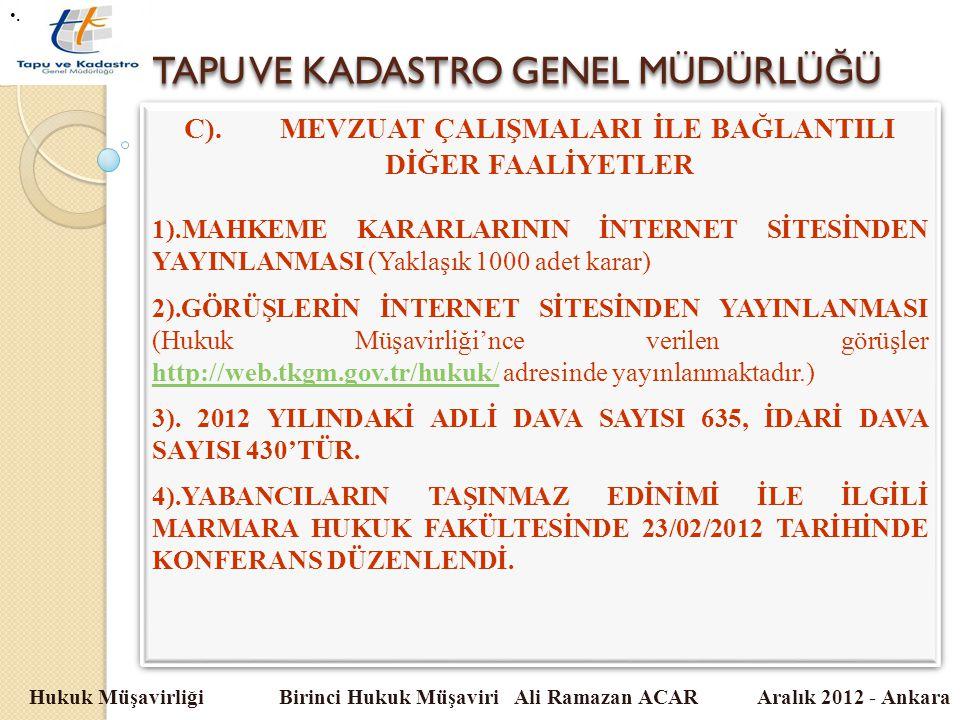 TAPU VE KADASTRO GENEL MÜDÜRLÜ Ğ Ü Hukuk Müşavirliği Birinci Hukuk Müşaviri Ali Ramazan ACAR Aralık 2012 - Ankara C).MEVZUAT ÇALIŞMALARI İLE BAĞLANTIL