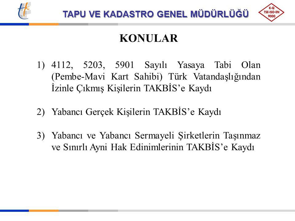 TAPU VE KADASTRO GENEL MÜDÜRLÜĞÜ KONULAR 1)4112, 5203, 5901 Sayılı Yasaya Tabi Olan (Pembe-Mavi Kart Sahibi) Türk Vatandaşlığından İzinle Çıkmış Kişil