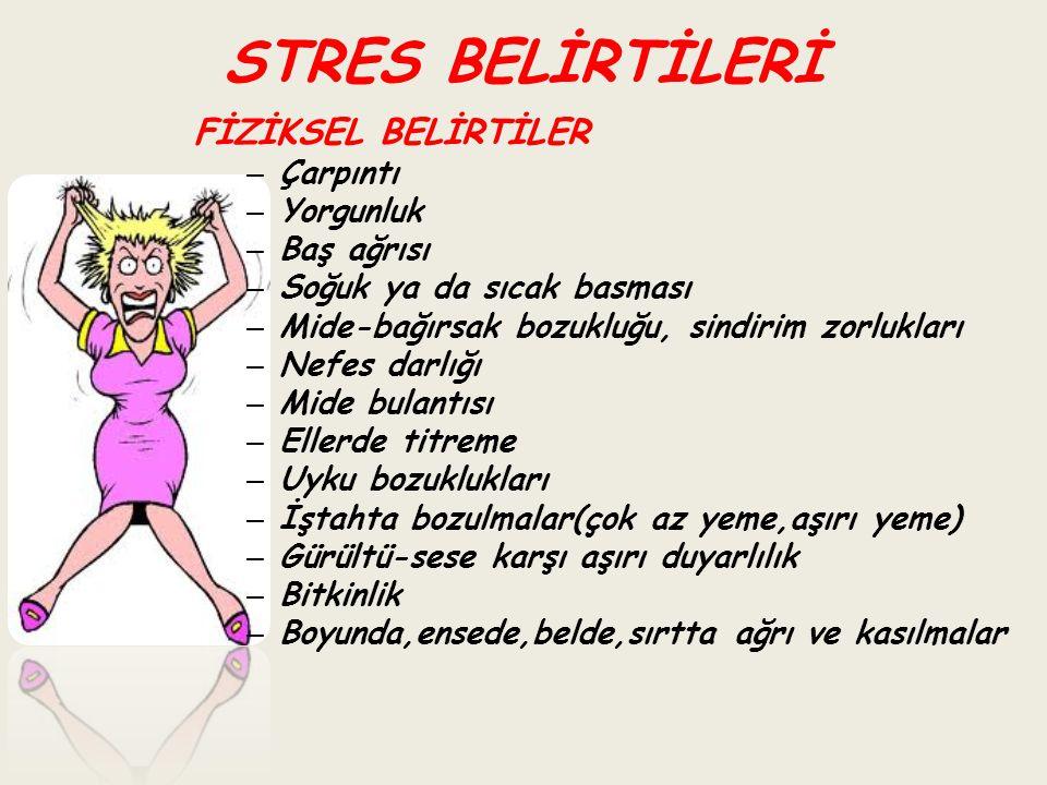 STRES BELİRTİLERİ FİZİKSEL BELİRTİLER – Çarpıntı – Yorgunluk – Baş ağrısı – Soğuk ya da sıcak basması – Mide-bağırsak bozukluğu, sindirim zorlukları –
