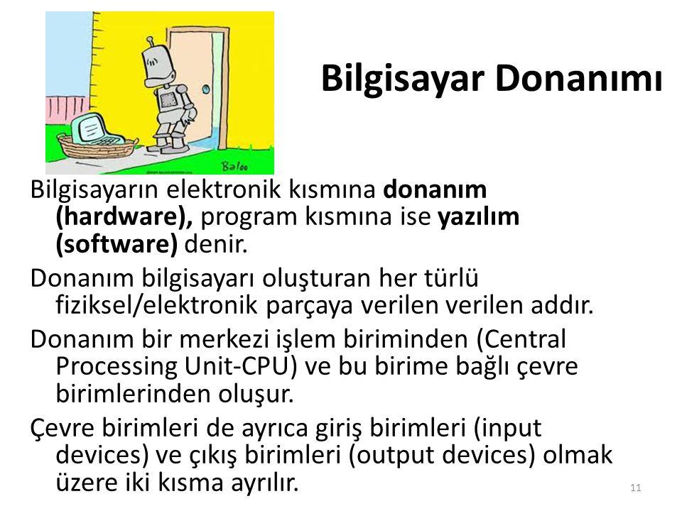 Bilgisayar Donanımı Bilgisayarın elektronik kısmına donanım (hardware), program kısmına ise yazılım (software) denir.