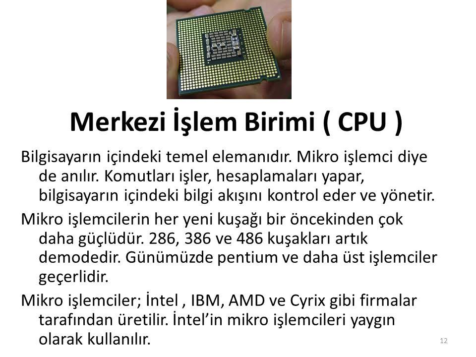 Merkezi İşlem Birimi ( CPU ) Bilgisayarın içindeki temel elemanıdır.