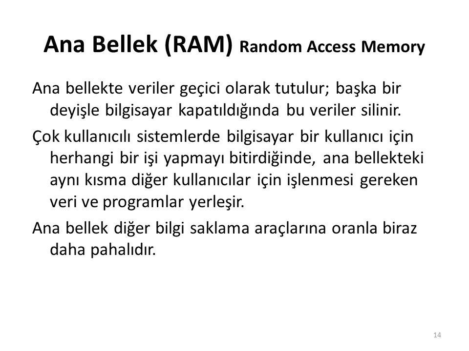 Ana Bellek (RAM) Random Access Memory Ana bellekte veriler geçici olarak tutulur; başka bir deyişle bilgisayar kapatıldığında bu veriler silinir.
