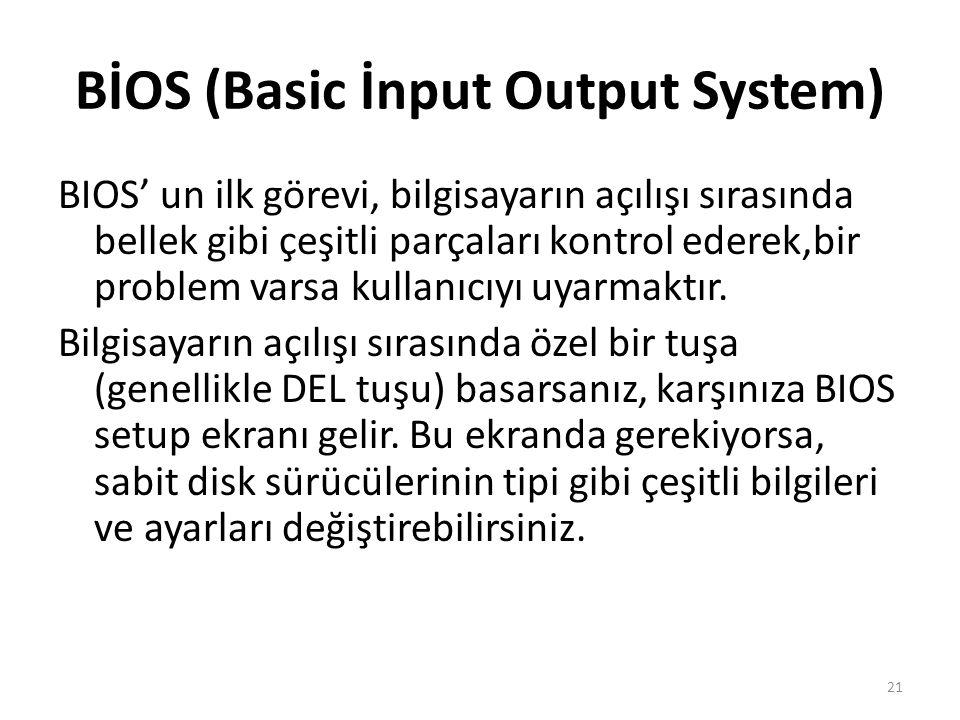 BİOS (Basic İnput Output System) BIOS' un ilk görevi, bilgisayarın açılışı sırasında bellek gibi çeşitli parçaları kontrol ederek,bir problem varsa kullanıcıyı uyarmaktır.