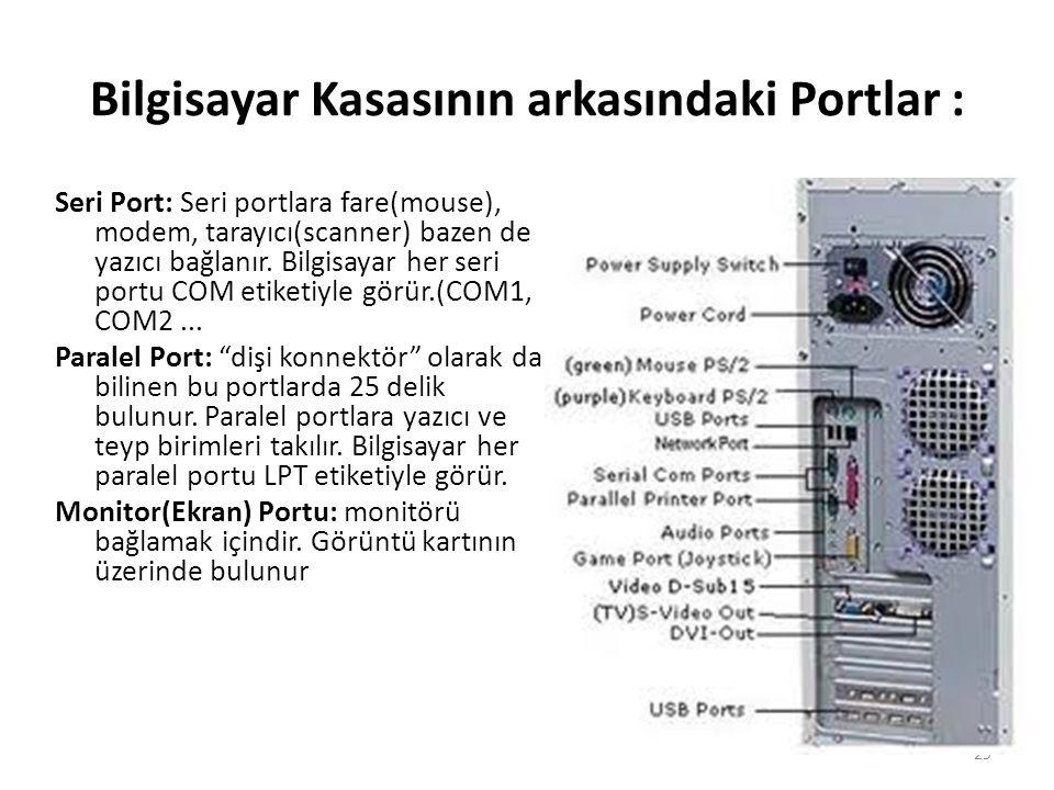 Bilgisayar Kasasının arkasındaki Portlar : Seri Port: Seri portlara fare(mouse), modem, tarayıcı(scanner) bazen de yazıcı bağlanır.