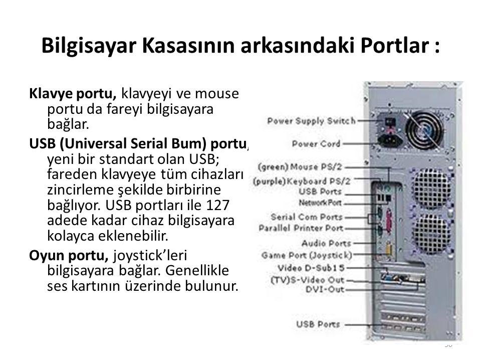 Bilgisayar Kasasının arkasındaki Portlar : Klavye portu, klavyeyi ve mouse portu da fareyi bilgisayara bağlar.
