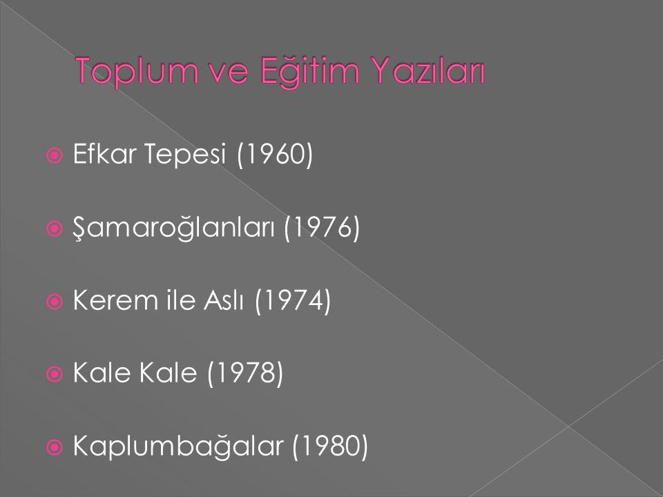  Efkar Tepesi (1960)  Şamaroğlanları (1976)  Kerem ile Aslı (1974)  Kale Kale (1978)  Kaplumbağalar (1980)