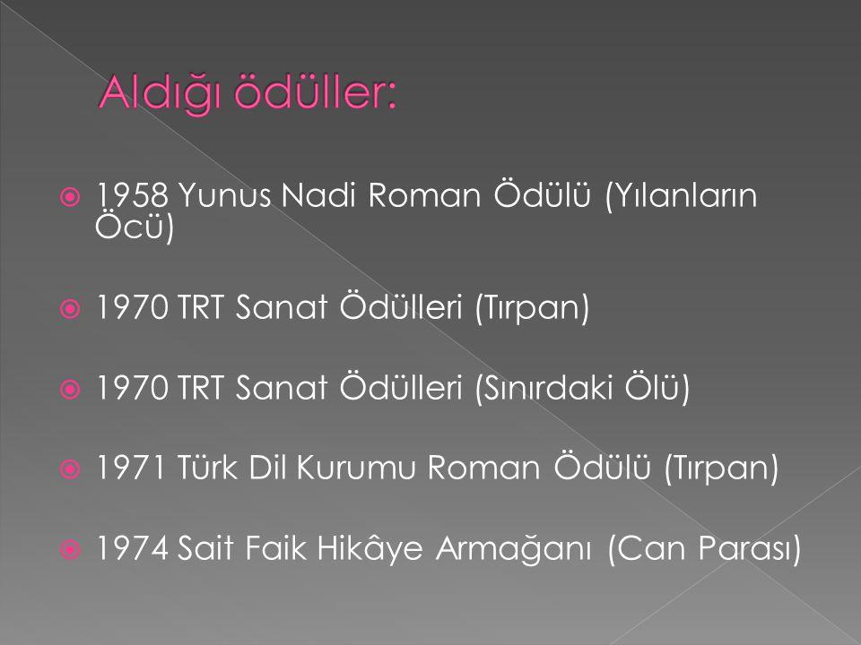  1958 Yunus Nadi Roman Ödülü (Yılanların Öcü)  1970 TRT Sanat Ödülleri (Tırpan)  1970 TRT Sanat Ödülleri (Sınırdaki Ölü)  1971 Türk Dil Kurumu Rom