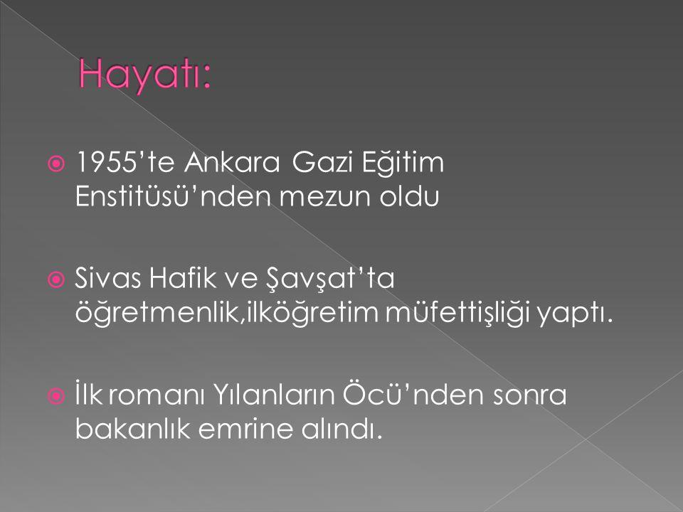  1955'te Ankara Gazi Eğitim Enstitüsü'nden mezun oldu  Sivas Hafik ve Şavşat'ta öğretmenlik,ilköğretim müfettişliği yaptı.  İlk romanı Yılanların Ö