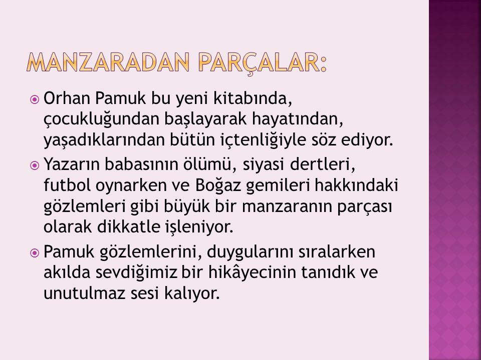  Orhan Pamuk bu yeni kitabında, çocukluğundan başlayarak hayatından, yaşadıklarından bütün içtenliğiyle söz ediyor.  Yazarın babasının ölümü, siyasi