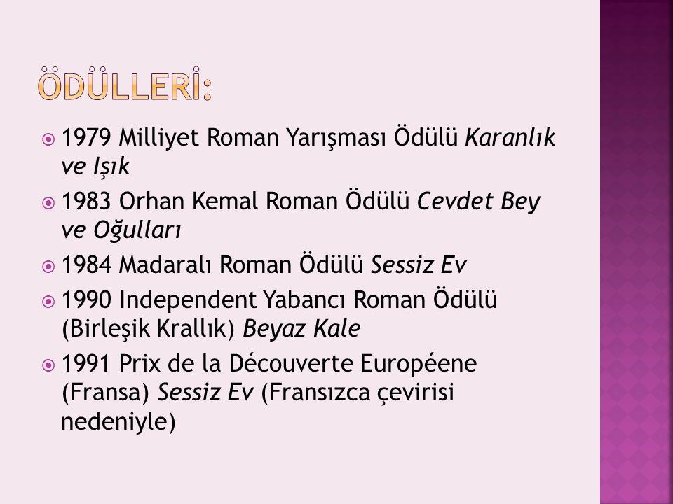  1979 Milliyet Roman Yarışması Ödülü Karanlık ve Işık  1983 Orhan Kemal Roman Ödülü Cevdet Bey ve Oğulları  1984 Madaralı Roman Ödülü Sessiz Ev  1