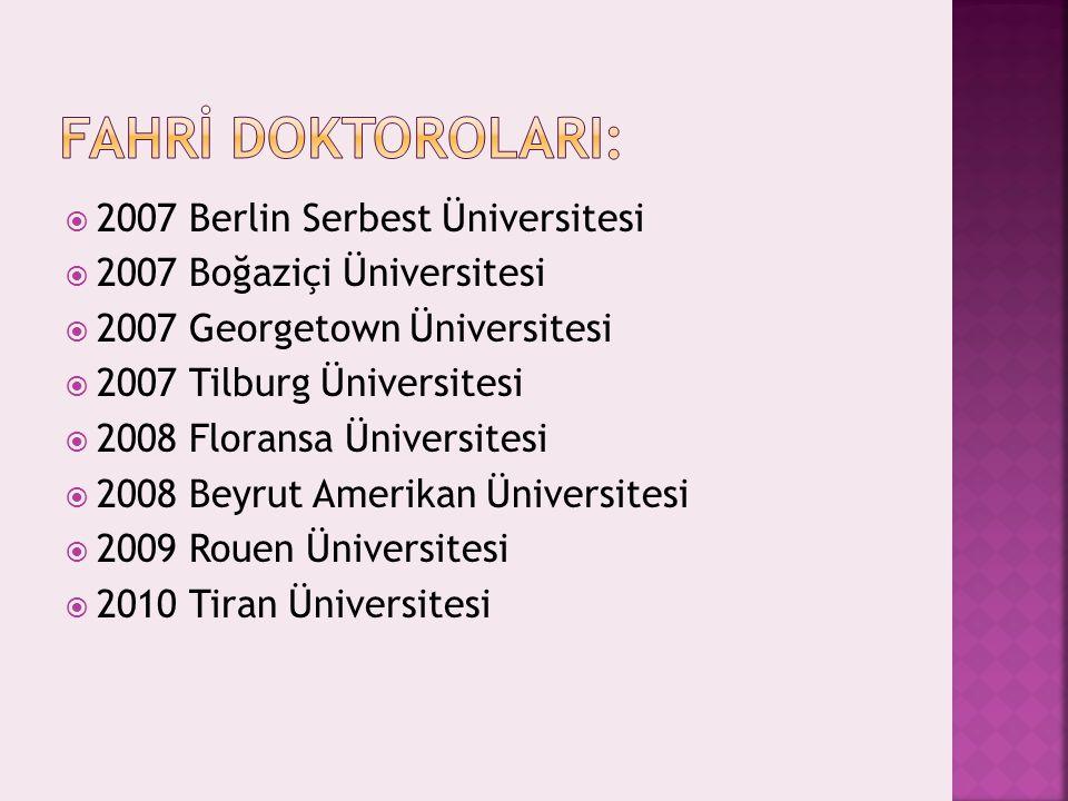 2007 Berlin Serbest Üniversitesi  2007 Boğaziçi Üniversitesi  2007 Georgetown Üniversitesi  2007 Tilburg Üniversitesi  2008 Floransa Üniversites