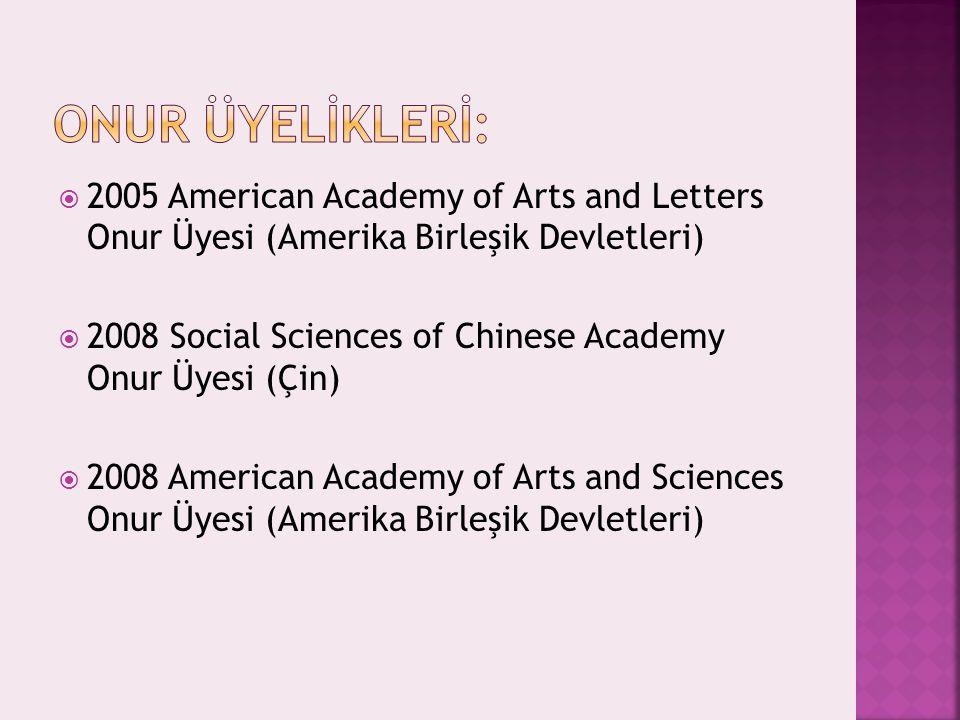  2005 American Academy of Arts and Letters Onur Üyesi (Amerika Birleşik Devletleri)  2008 Social Sciences of Chinese Academy Onur Üyesi (Çin)  2008