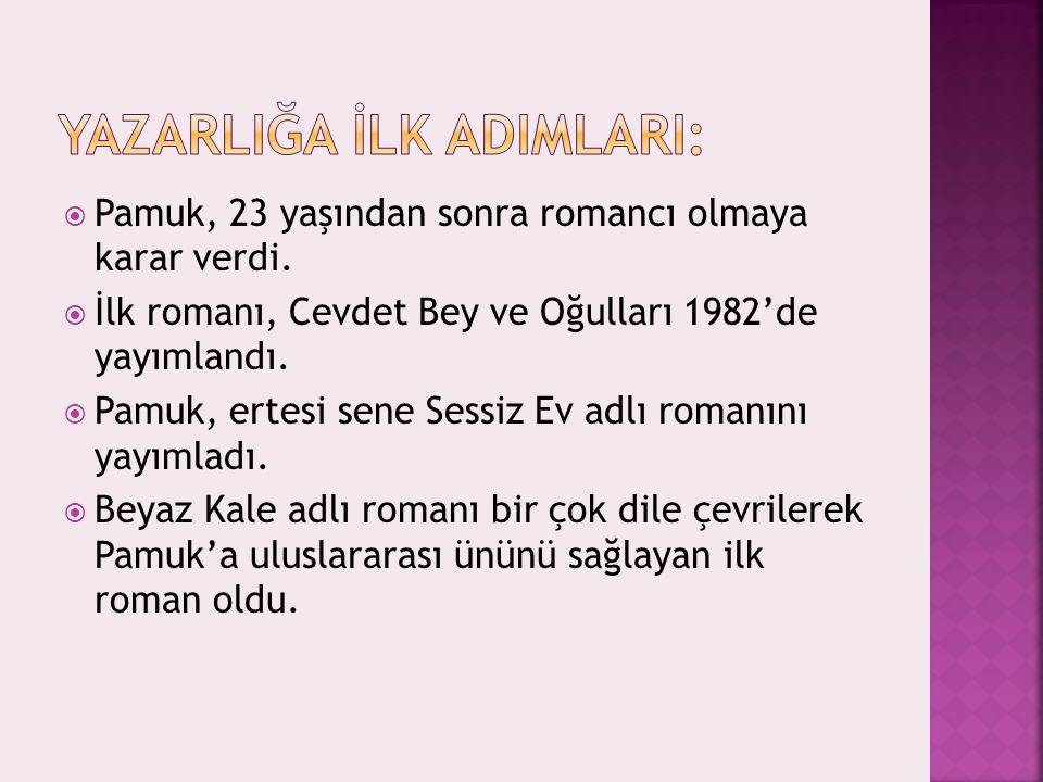  Pamuk, 23 yaşından sonra romancı olmaya karar verdi.  İlk romanı, Cevdet Bey ve Oğulları 1982'de yayımlandı.  Pamuk, ertesi sene Sessiz Ev adlı ro