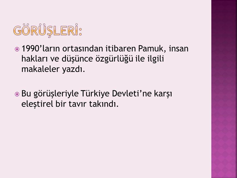  1990'ların ortasından itibaren Pamuk, insan hakları ve düşünce özgürlüğü ile ilgili makaleler yazdı.  Bu görüşleriyle Türkiye Devleti'ne karşı eleş