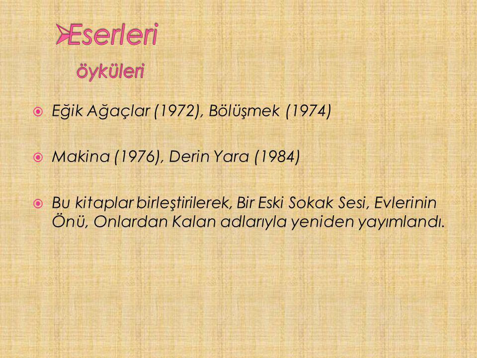  Eğik Ağaçlar (1972), Bölüşmek (1974)  Makina (1976), Derin Yara (1984)  Bu kitaplar birleştirilerek, Bir Eski Sokak Sesi, Evlerinin Önü, Onlardan Kalan adlarıyla yeniden yayımlandı.