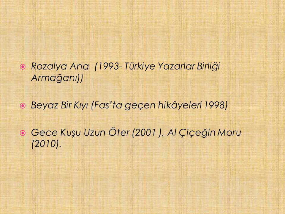  Rozalya Ana (1993- Türkiye Yazarlar Birliği Armağanı))  Beyaz Bir Kıyı (Fas'ta geçen hikâyeleri 1998)  Gece Kuşu Uzun Öter (2001 ), Al Çiçeğin Moru (2010).
