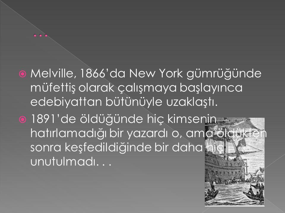  Melville, 1866'da New York gümrüğünde müfettiş olarak çalışmaya başlayınca edebiyattan bütünüyle uzaklaştı.  1891'de öldüğünde hiç kimsenin hatırla