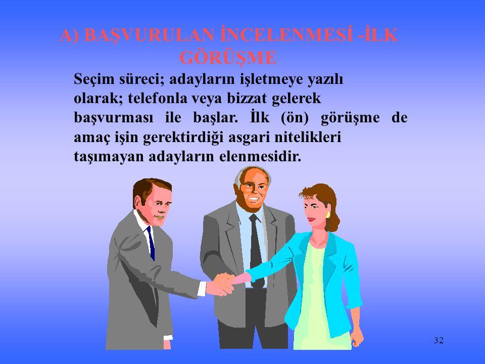 32 A) BAŞVURULAN İNCELENMESİ -İLK GÖRÜŞME Seçim süreci; adayların işletmeye yazılı olarak; telefonla veya bizzat gelerek başvurması ile başlar.