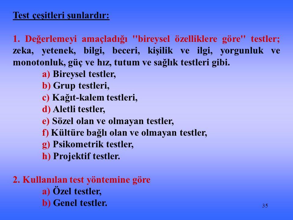 35 Test çeşitleri şunlardır: 1.