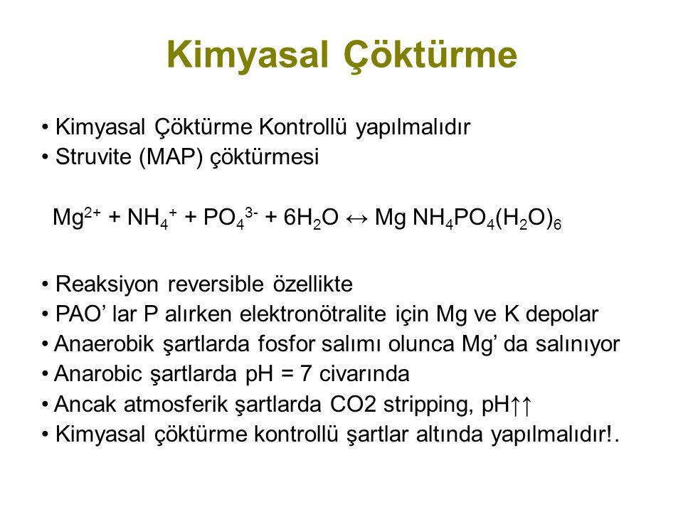 Kimyasal Çöktürme Kontrollü yapılmalıdır Struvite (MAP) çöktürmesi Mg 2+ + NH 4 + + PO 4 3- + 6H 2 O ↔ Mg NH 4 PO 4 (H 2 O) 6 Reaksiyon reversible öze