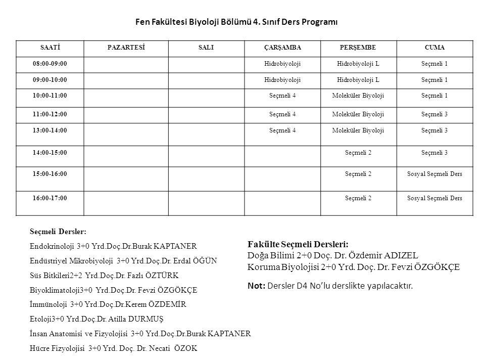 SAATİPAZARTESİSALIÇARŞAMBAPERŞEMBECUMA 08:00-09:00HidrobiyolojiHidrobiyoloji LSeçmeli 1 09:00-10:00HidrobiyolojiHidrobiyoloji LSeçmeli 1 10:00-11:00Se