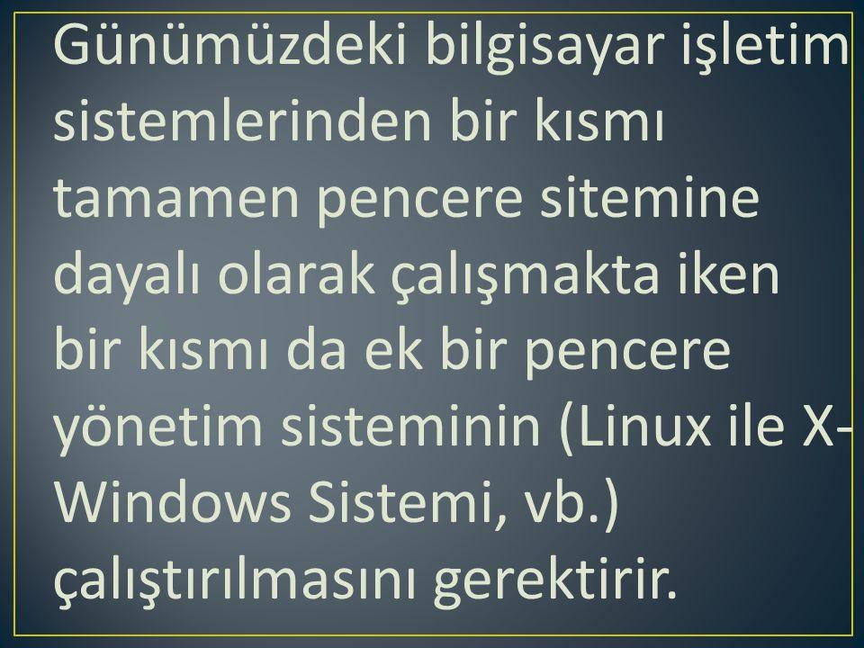 Günümüzdeki bilgisayar işletim sistemlerinden bir kısmı tamamen pencere sitemine dayalı olarak çalışmakta iken bir kısmı da ek bir pencere yönetim sis