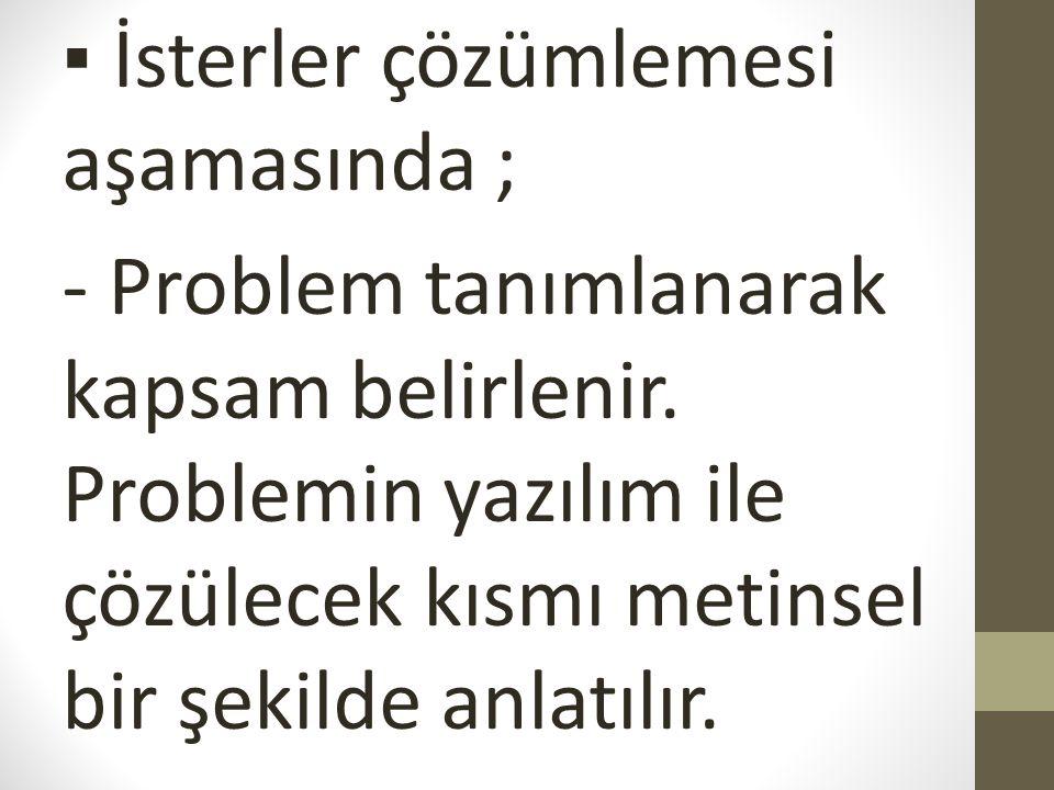 ▪ İsterler çözümlemesi aşamasında ; - Problem tanımlanarak kapsam belirlenir. Problemin yazılım ile çözülecek kısmı metinsel bir şekilde anlatılır.