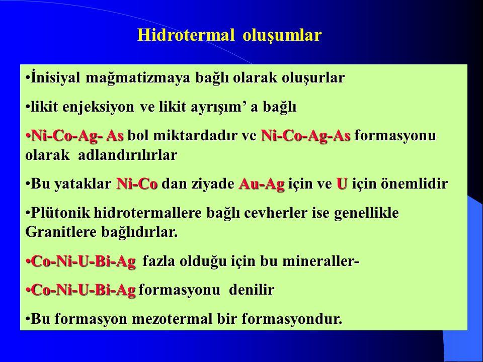 Hidrotermal oluşumlar İnisiyal mağmatizmaya bağlı olarak oluşurlarİnisiyal mağmatizmaya bağlı olarak oluşurlar likit enjeksiyon ve likit ayrışım' a bağlılikit enjeksiyon ve likit ayrışım' a bağlı Ni-Co-Ag- As bol miktardadır ve Ni-Co-Ag-As formasyonu olarak adlandırılırlarNi-Co-Ag- As bol miktardadır ve Ni-Co-Ag-As formasyonu olarak adlandırılırlar Bu yataklar Ni-Co dan ziyade Au-Ag için ve U için önemlidirBu yataklar Ni-Co dan ziyade Au-Ag için ve U için önemlidir Plütonik hidrotermallere bağlı cevherler ise genellikle Granitlere bağlıdırlar.Plütonik hidrotermallere bağlı cevherler ise genellikle Granitlere bağlıdırlar.
