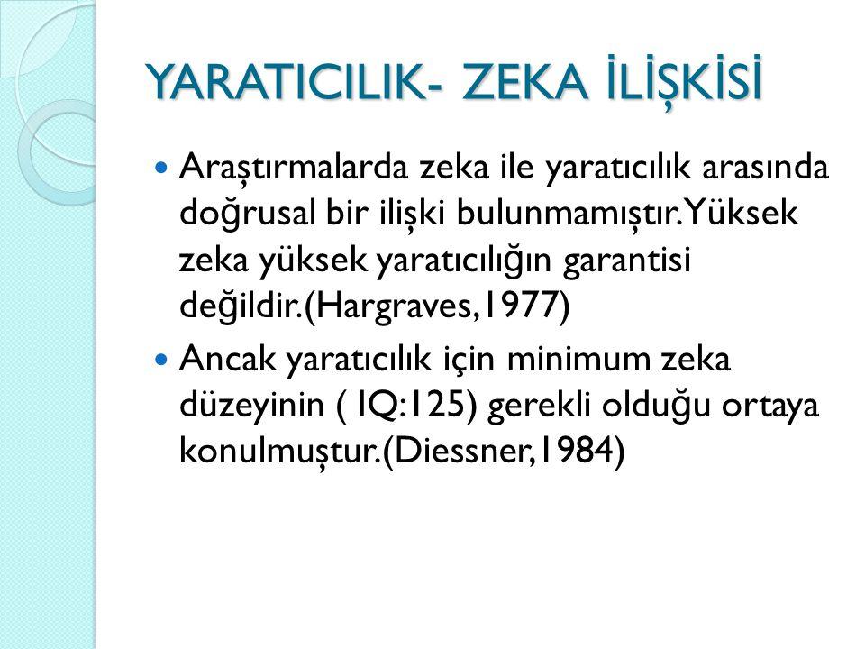 YARATICILIK- ZEKA İ L İ ŞK İ S İ Araştırmalarda zeka ile yaratıcılık arasında do ğ rusal bir ilişki bulunmamıştır.