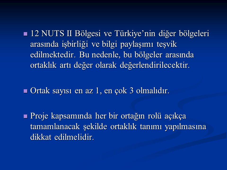 12 NUTS II Bölgesi ve Türkiye'nin diğer bölgeleri arasında işbirliği ve bilgi paylaşımı teşvik edilmektedir. Bu nedenle, bu bölgeler arasında ortaklık