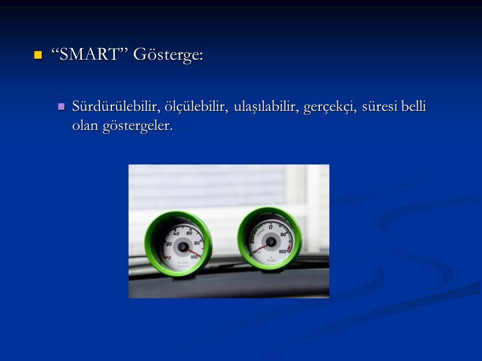 """""""SMART"""" Gösterge: """"SMART"""" Gösterge: Sürdürülebilir, ölçülebilir, ulaşılabilir, gerçekçi, süresi belli olan göstergeler. Sürdürülebilir, ölçülebilir, u"""