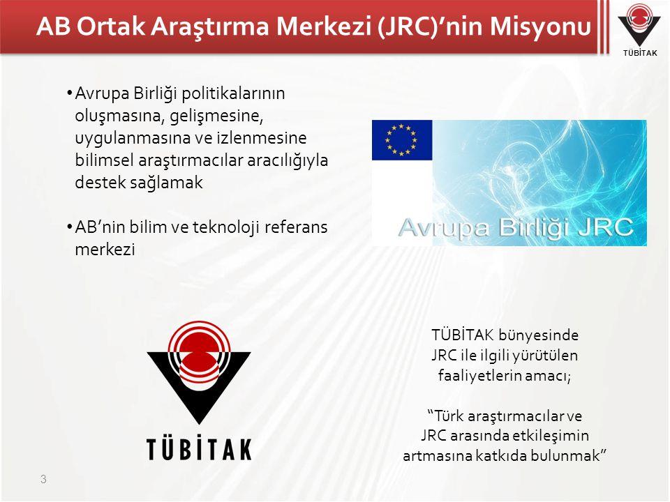 TÜBİTAK AB Ortak Araştırma Merkezi (JRC)'nin Misyonu 3 Avrupa Birliği politikalarının oluşmasına, gelişmesine, uygulanmasına ve izlenmesine bilimsel a