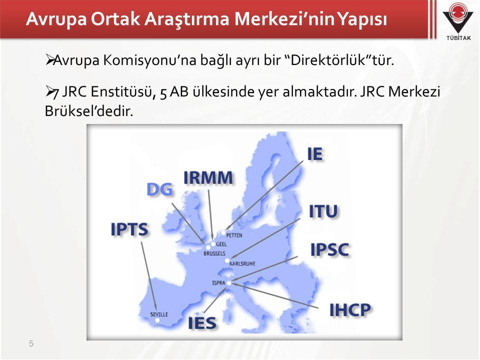 """TÜBİTAK Avrupa Ortak Araştırma Merkezi'nin Yapısı  Avrupa Komisyonu'na bağlı ayrı bir """"Direktörlük""""tür.  7 JRC Enstitüsü, 5 AB ülkesinde yer almakta"""